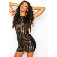 Womens Sleeveless Sequin Mini Dress - Black - 10, Black