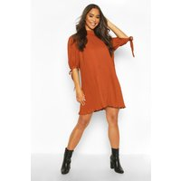 Womens Pleated Bow Detail Swing Dress - orange - 14, Orange