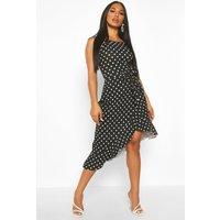 Womens Polka Dot Square Neck Ruffle Midi Dress - black - 10, Black