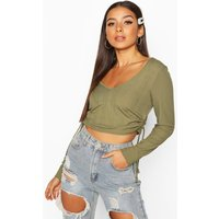 Womens Long Sleeved Ribbed Ruched Side Crop - green - 10, Green