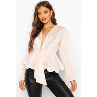 Womens Woven Crinkle Tie Front Blouse - pink - XL, Pink