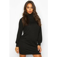 Womens Funnel Neck Volume Sleeve Shift Dress - black - 10, Black
