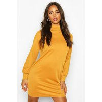 Womens Funnel Neck Volume Sleeve Shift Dress - yellow - 16, Yellow