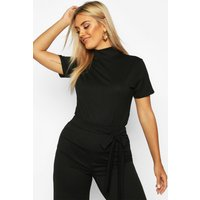 Womens Plus Cap Sleeve High Neck Crop Top - black - 20, Black