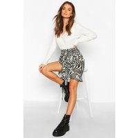 Womens Ruffle Front Mini Skirt - grey - 14, Grey