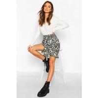 Womens Ruffle Front Mini Skirt - grey - 10, Grey
