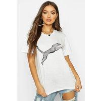 Womens Leopard Print T-Shirt - white - S, White