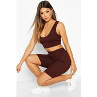 Womens Jumbo Ribbed High Waist Cycling Short - brown - 10, Brown
