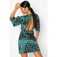 Womens Satin Spot Curved Seam Midi Dress - green - 14, Green