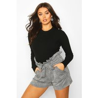 Womens Belted Prince Of Wales Check Tailored Shorts - black - 8, Black
