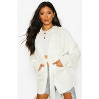 Womens Chunky Marl Knit Belted Cardigan - white - L, White