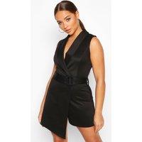 Womens V Neck Wrap Over Self Belt Tailored Skort Playsuit - black - 12, Black
