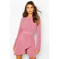 Womens Wrap Detail Belted Blazer Dress - purple - 14, Purple