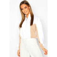 Womens High Neck Colour Block Zip Through jumper - white - 14, White