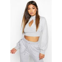 Womens Cut Out High Neck Crop Sweat - grey - 12, Grey