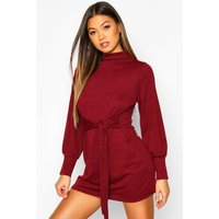 Womens Brushed Belted Shift Dress - red - 16, Red