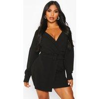 Womens Puff Sleeve Belted Blazer Dress - black - 10, Black