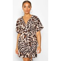 Animal Print Ruched Mini Dress - beige - 10, Beige
