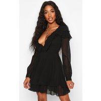 Womens Ruffle Front Chiffon Belted Skater Dress - black - 16, Black