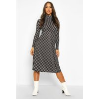Womens Polka Dot High Neck Jersey Midi Dress - black - 10, Black