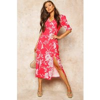 Womens Floral Print Double Split Midi Dress - red - 8, Red