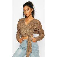 Womens Spot Print Puff Sleeve Blouse - beige - 12, Beige