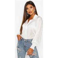 Womens Metallic Stripe Shirred Cuff Shirt - white - 16, White
