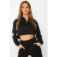 Womens Half Zip Colour Block Sweatshirt - black - S, Black