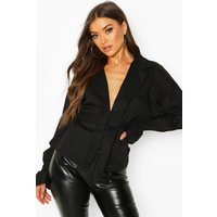 Womens Button Through Belted Long Sleeve Blouse - black - 10, Black