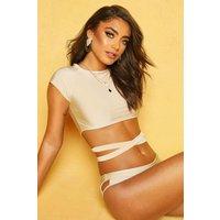 Womens Raglan Wrap Bikini - beige - 16, Beige