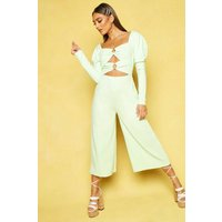 Womens O Ring Culotte Jumpsuit - green - 8, Green