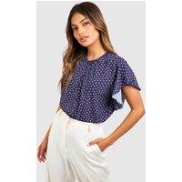 Womens Polka Dot Frill Sleeve Woven Blouse - Navy - 10, Navy