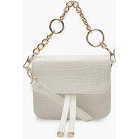Womens Mini Croc Chunky Ring Chain Cross Body Bag - white - One Size, White