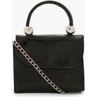 Womens Mini Croc & Bead Structured Cross Body Bag - black - One Size, Black