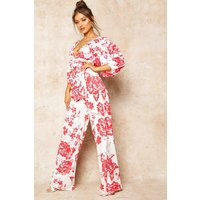 Womens Floral Print Wide Leg Trousers - red - 12, Red