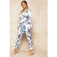 Womens Floral Print High Waist Cropped Trouser - blue - 12, Blue
