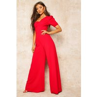 Womens One Shoulder Puff Sleeve Jumpsuit - red - 8, Red