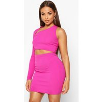Womens Asymetric One Shoulder Top And Mini Skirt Co-ord - Pink - 8, Pink