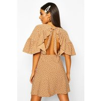 Womens Polka Dot Open Back Skater Dress - beige - 8, Beige