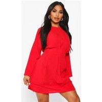Womens Woven Pintuck Shift Dress - red - 8, Red