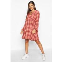 Womens Check Ruffle Detail Smock Dress - pink - 14, Pink