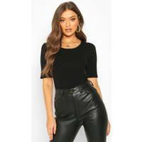 Womens Scoop Neck Half Sleeve Knitted Crop Top - black - L, Black
