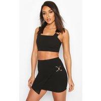 Womens Buckle Detail Crop Top & Mini Skirt Co-ord - black - 6, Black