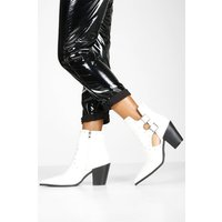 Womens Stud Cut Out Western Boots - white - 3, White