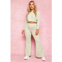 Womens Recycled Rib Fit and Flare Trousers - green - 8, Green