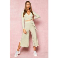 Womens Recycled Wrap Front Rib Crop & Culottes - green - 8, Green