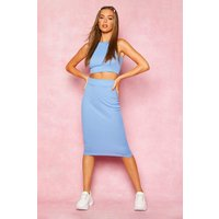 Womens Recycled High Neck Rib Crop Top & Midi Co-Ord - blue - 12, Blue