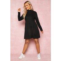 Womens Recycled Rib Roll Neck Smock Dress - black - 8, Black