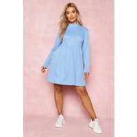 Womens Recycled Rib Roll Neck Smock Dress - blue - 12, Blue
