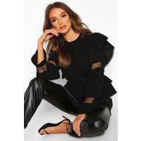 Womens Lace Up Crochet Ruffle Detail Top - black - 6, Black